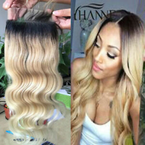 12A PERUVIAN BLONDE 1B/613 ROOT LACE CLOSURE 4X4 ALL PARTING STRAIGHT/BODY WAVE