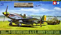 TAMIYA North American P-51D MUSTANG & US ARMY STAFF CAR 1/48 scale kit JAPAN