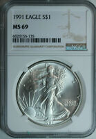 1991 Silver American Eagle Dollar NGC MS69 / Top Rated / No Toning or Spots!