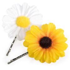 PACK 2 DAISY & SUNFLOWER 5cm FLOWER HAIR KIRBY CLIP GRIP SLIDE BOBBY PIN BOHO