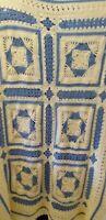"Blanket Handmade crocheted 70""x 48"" beige blue Granny Square Beautiful Afghan"