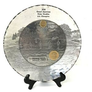 """Beautiful Engraved Wendell August 11.5"""" Platter Hunting Theme - Trapshooting"""