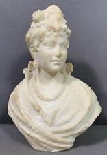 19thC Antique VICTORIAN Carved ALABSTER LADY Sculpture BUST Old PARLOR STATUE