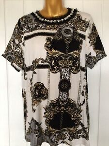 River Island Ladies Black Gold And White Pearl Chain T Shirt UK Size 14