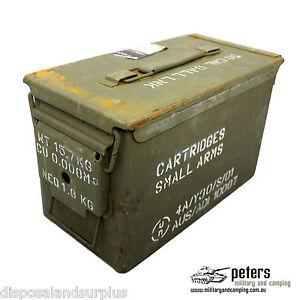 AMMO BOX 50 CAL EX ARMY STEEL AMMUNITION BOX FULLY SEALED GRADE A