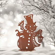 Bonhomme de neige lanterne M décoration métal jardin terrasse Hiver Noël Advent