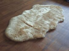 Beige Soft Faux Fur Double Sheepskin Style Rug 70 x 140cm Washable