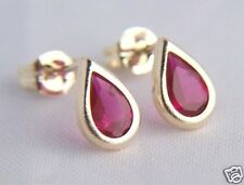 9ct Gold Small Teardrop RUBY Studs Earrings ANNIVERSARY MUMS B'day GIFT BOX NEW