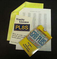 VANITY TAG, PERSONALIZED LICENSE PLATE BOOK SET, DECODERS, CHOICES, 1000'S SHOWN
