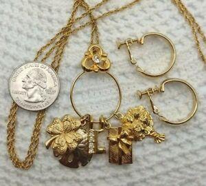 Rare Vintage Charm Holder Pendant Necklace Earrings Set