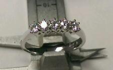 Anello veretta 6 griffe 5 diamanti naturali 0,75 ct oro bianco 18 kt  sconto 50%