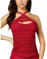 Island Escape Womens Lost At Sea Crochet High-Neck Tankini Top 14 Burgundy