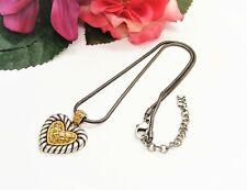 Pretty! AK Gunmetal Silvertone & Goldtone Heart Pendant Necklace!