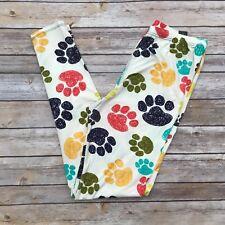 Yellow Blue Puppy Dog Kitty Cat Animal Paws Women's Leggings Plus Size TC 12-20