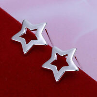 *UK* 925 SILVER PLT HOLLOW FLAT STAR STUD EARRINGS SUMMER SHOOTING NORTH SHINING