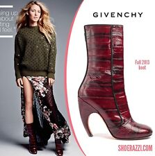 GIVENCHY RUNWAY LUNA STRIPED LEATHER BOOTS RED Sz. 7.5 US/ 37.5 EUR