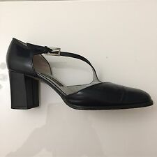 """Ladies Shoes Size 4 Navy BALLY 100% Leather Cross Over Strap 2.5"""" Heel Smart"""
