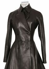 New Black Genuine Leather Coat Double Breasted Two Pockets Flared Fitted Women