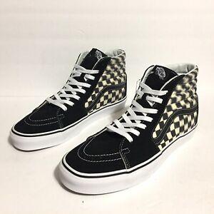 VANS New Sk8-Hi Checkerboard Skateboarding Shoe Men's Size 12 Black Suede Canvas