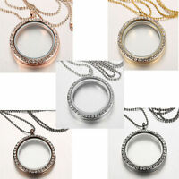 Living Memory Locket Pendant Floating Charm Crystal Glass Round Necklace charms