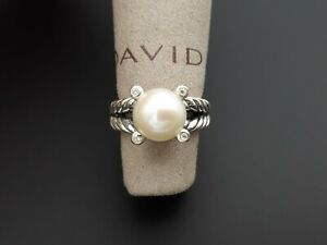 David Yurman Sterling Silver Cable Pearl Ring with Diamonds size 5