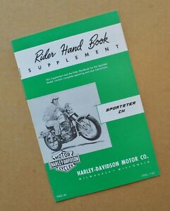 Original 1960's Harley Sportster XLCH Rider Hand Book Owners Manual Supplement