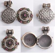 Turkish Jewelry Round Ruby Emerald Topaz 925 Sterling Silver Locket Pendant