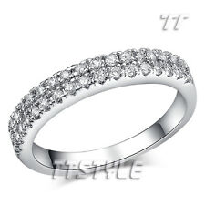TT Sparkling Clear CZ Micro Pave Eternity Engagement Wedding Ring Size 5-9 RF74