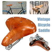 Brown Vintage Classic Genuine Leather Bicycle Bike Cycle Saddle Seat with