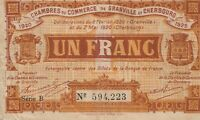 Vintage Banknote France 1 Franc Emergency Money Granville 1920 US Seller
