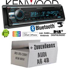 Kenwood Autoradio für Audi A6 4b bis 2001 DAB+ Bluetooth CD 2x USB Einbauset