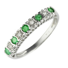 Ivy Gems Women's 9ct White Gold Emerald and Diamond Stars Eternity Ring - Size L
