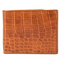 Kanthima Genuine Crocodile Belly Skin Leather Men Tan Bifold ID Card Wallet VV