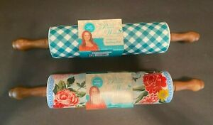 The Pioneer Woman Ceramic Rolling Pin Sweet Rose Charming Check Lot of 2 NEW