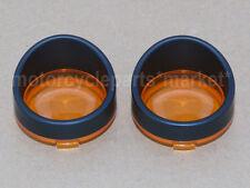 Black Visor Turn Light Bezels W/ Amber Lens Cover For Harley Sportster Touring