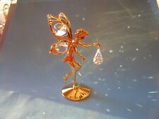 """Made with SWAROVSKI CRYSTAL ELEMENTS """"FAIRY""""  FIGURINE ON STAND 24KT GOLD PLATED"""