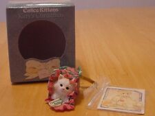 "Calico Kittens Cat in Christmas Package ""Curious Kitty"" Gift Ornament"