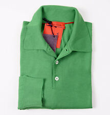 NWT $795 ISAIA NAPOLI Bright Green Extrafine Merino Wool Polo Sweater XS/S