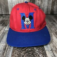 Vintage 90s Mickey Mouse Disney Embroidered Logo Snapback Cap Hat Red Blue Goofy