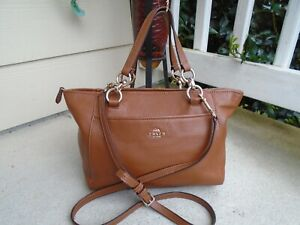 Coach 35030 Lisa D Saddle Light Brown Pebbled Leather Small Cross Body  satchel