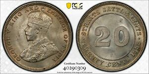 Straits Settlements 1935 20 Cents PCGS MS64 Round-top 3 rare grade PC1126 combin