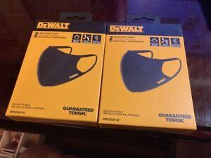 (2) Boxes DeWalt Premium Breathable Face Mask /Washable - 2Packs-4 Masks READ!
