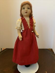"""19"""" Early Chad Valley English Little Girl Cloth Doll Hygienic Toys."""