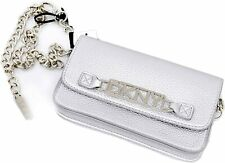 DKNY logo plate chain pebble faux-leather belt bag/Fanny pack -Silver -S M L