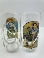 Pair Of Norman Rockwell Cocoa-cola Collectors Glasses Vintage