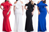 Plus Size Ruffle Cold Shoulder Mermaid Maxi Dress Hourglass Gown