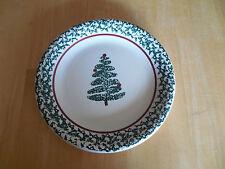 Furio Italy CHRISTMAS TREE Set of 12 Dinner Plates Green Sponge