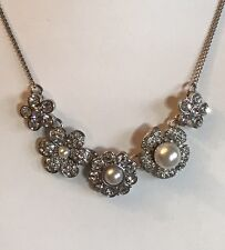 "Silver Tone 16"" Pearl Cubic Zirconia Flower Statement Necklace Bridal (A227)"