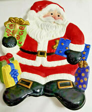 """Fitz & Floyd Handcrafted Holiday Christmas Santa Plate Dish Container 9.5"""""""