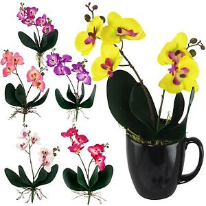 Mini Cuchi Orchid Spray - Tiny Artificial Flowers Craft Silk Bunch with Leaves